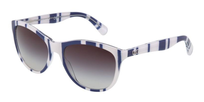 D&G Playful Chique Stripes Blue White - Grey Gradient